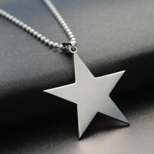 STAINLESS STEEL STAR NECKLACE 316L Metal Pendant 70cm Ball Chain NEW Silver $6.95