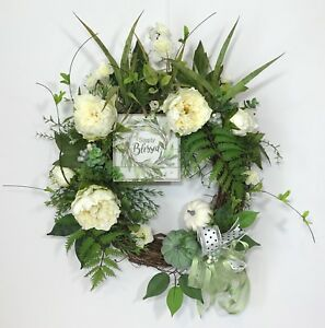 FALL THANKSGIVING FLORAL GRAPEVINE WREATH WOOD SIGN WHITE FLOWERS PUMPKINS NEW $77.00