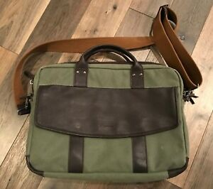 Timbuk2 Hudson Briefcase Laptop Bag Rugged Wax Canvas with Leather Accents