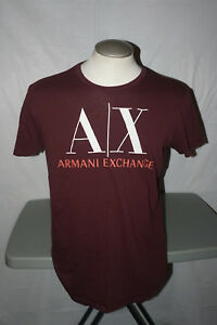 AX ARMANI EXCHANGE Short Sleeve Logo T-Shirt LARGE L Maroon Tee
