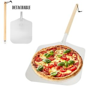 Aluminum Pizza Peel Paddle with Detachable Wooden Handle 12 x 14 inch Blade