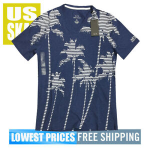 Armani Exchange Men's NWT V Neck Tropic Blue JH47 Cotton T Shirt Free ShiP 2XL
