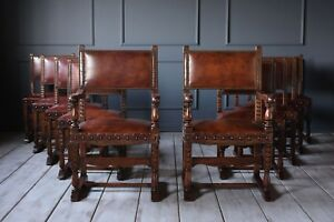 Set of Ten French Baroque Leather Dining Chairs Original Leather