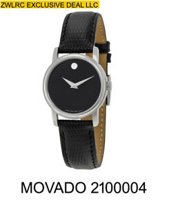 BOX SET MOVADO Museum 2100004 Classic Black Leather Analog Quartz Women's Watch