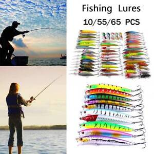 105666 PC Fishing Lures Crankbaits Hooks Minnow Baits Tackle Twitching Bass US