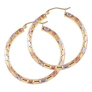 Tri Color Gold Big Hoop Earrings 14K Diamond Cut Nice Jewelry Gift for Women