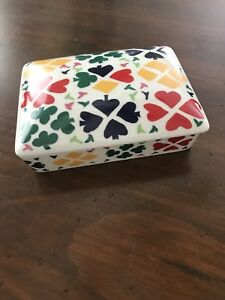 Vintage Horchow Ceramic Double Sets of Playing Card Box W Bright Colored Suits $21.99