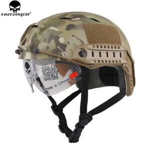 EMERSON Tacitcal BJ Type FAST Helmet With Protective Goggle Airsoft Casque MCCP