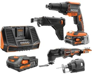 RIDGID Multi Tool Cordless Drywall Screwdriver Rotary Cutter Batteries Charger