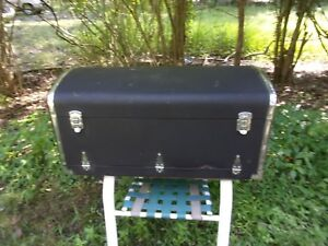 ANTIQUE UNUSUAL STEAMER TRUNK ~ BLACK AND CHROME