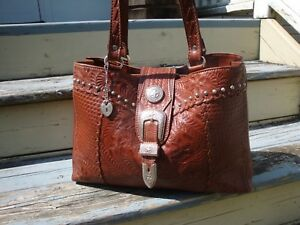 AMERICAN WEST Brown Leather Tote Large Hand Tooled Cowboy Belt Buckle Bucket Bag