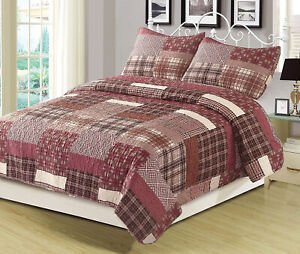 Twin Full/Queen or King Quilt Red Plaid Patchwork Bedspread Bedding Set