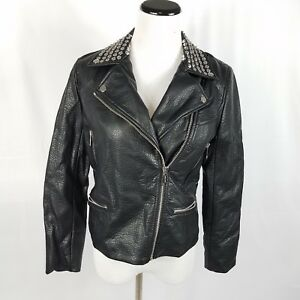 New Michael Kors faux leather jacket size P medium moto black studded msrp 350