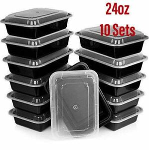10 Sets~24oz Meal Prep Food Containers, Reusable Microwavable Plastic BPA free