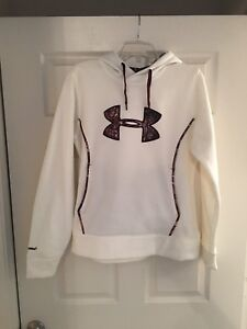 Under Armour cold gear hoodie white wbrown camo Storm 1 sz Lg