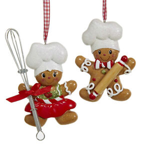 Baking Helpers Gingerbread Cookie Christmas Ornaments 3-12-Inch 2-Piece