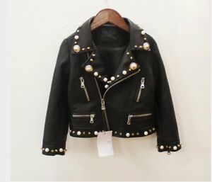 Kids Clothes Leather Girls Jackets For Baby Girls Boys Zipper Coats Costume