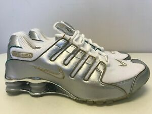 Mens Nike Shox NZ Sneakers New, White / Silver Bullet / Chrome 309720-113 SKU AA