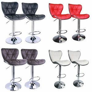 Set of 2 Shell Back Adjustable Swivel Bar Stools PU Leather Padded with Back