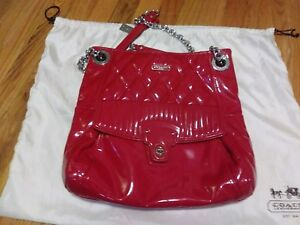 Coach Red Patent Leather Handbag From the Liquid Gloss Collection