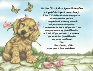Personalized Poem Gift for that Special Granddaughter (See all styles)