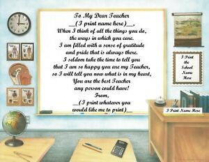 Personalized Poem Gift for that Special Teacher (See all styles)