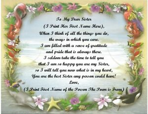 Personalized Poem Gift for that Special Sister (See all styles)