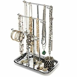 Jewelry Organizer Necklace Holder Tree Tower 3 Tier Display Stand Tabletop Tray