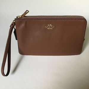 NEW NWT Coach F87587 Women's Double Zip Phone Wallet Saddle $175