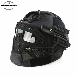 Tactical Helmet with Mask Airsoft Helmet Paintball Fullface Protective Face
