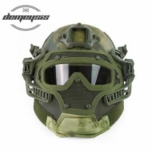 Tactical Full Face Cover Protection Mask Helmet with Goggle for PJ Vent Airsoft