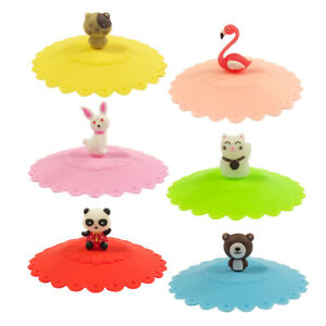 Wrapables Anti Dust Airtight Silicone Cup Lids Set of 6 Cute Animal