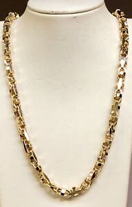 10k Solid Yellow Gold Anchor Mariner Bullet Link Chain Necklace