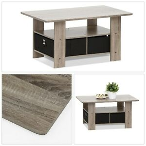 Coffee Table Home Living French Oak Grey Black Built-In Storage Accent Tables US