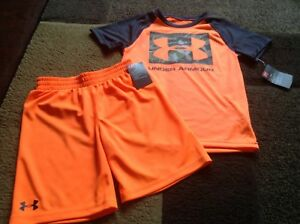 Boys Under Armour tee shorts orange outfit size 56( NWT)