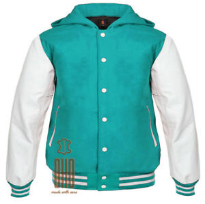 Varsity Jacket Letterman Baseball Outerwear Bomber Sports Hoodie Wool