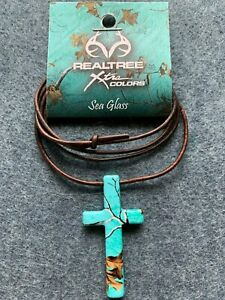 Camouflage Cross Necklace Sea Glass and a FREE St. Hubert and Jesus Prayer Card