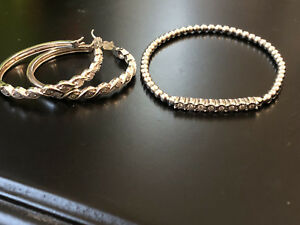 Sterling Silver and Diamond Earrings and Bracelet Set