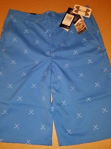 Under Armour Boys Youth Match Play Printed Golf Blue Shorts Size 20 NWT 1290351