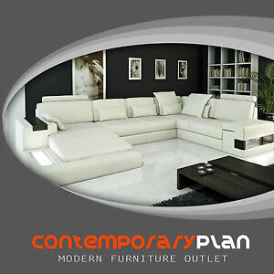 Modern Ivory Top Grain Italian Leather Sectional Sofa with built in Table Light