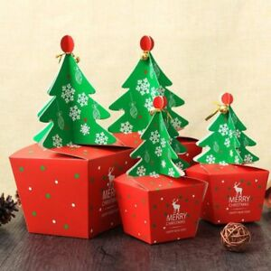 50pcs Creative Christmas Tree Packing Box Cupcakes Cookie With Bells Golden Cord