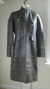 NEWPORT NEWS WOMENS STEAMPUNK GOTHIC MILITARY LEATHER JACKET BROWN 10 PRE OWNED