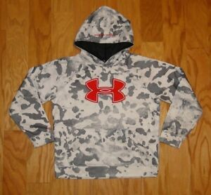 Under Armour Storm Pullover Hoodie Size YLG Loose Fit Gray White Camo Red UA