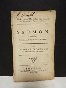 George Whitefield - Danger of Man Resulting from Sin - 1740 Unsigned Pamphlet