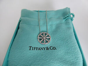 Tiffany & Co. Platinum Diamond Flower Daisy Circle Round Pendant Necklace 16 IN