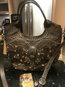 American West- Large Convertible Tote - Leather Handbag - Tumble Weed