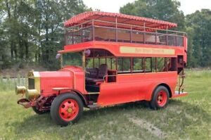 1983 Double-Decker Bus -- 1983 GMC Double-Decker Bus  53 Miles Red w Gold Trim  6 Cylinder Propane Conver