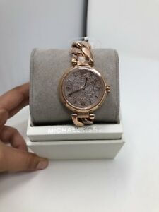 MICHAEL KORS Ellie Rose Gold Pave Crystal Dial Chain Bracelet Watch  MK3635  NEW