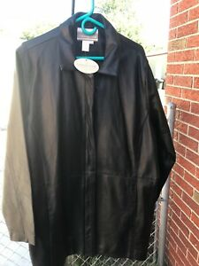 Women's Coldwater Creek BLACK LEATHER JACKET NWT! Plus size 2X