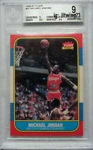 1986 Fleer Basketball Michael Jordan ROOKIE RC #57 BGS 9 MINT with two 9.5s